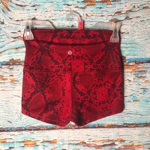 lululemon athletica Shorts - Lululemon Red/Black Snakeskin Boogie Shorts
